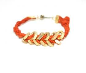 Burn Orange Hex Nut Bracelet