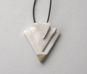 White & Gold Dipped Geometric Necklace