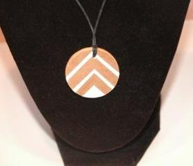 Hand Painted White Chevron Necklace
