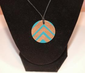Hand Painted Turquoise Chevron Necklace